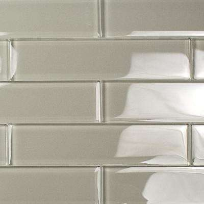 Contempo Gray 2 in. x 8 in. x 8mm Polished Glass Floor and Wall Tile (1 sq. ft.)