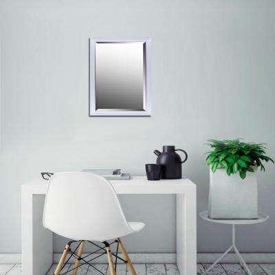 21.25 in. x 33.25 in. x 1.25 in. Hexagon Pattern with White Gloss Finish Beveled Wall Mirror
