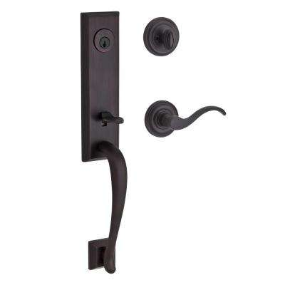 Reserve Del Mar Single Cylinder Venetian Bronze Door Handleset with Curve Left-Handed Lever and Traditional Round Rose