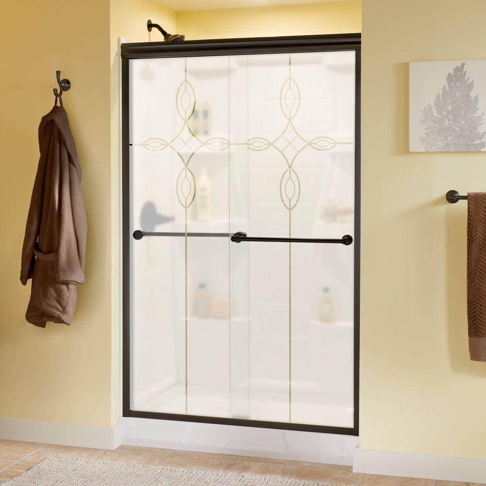 Delta Crestfield 48 in. x 70 in. Semi-Frameless Sliding Shower Door in Bronze with Tranquility Glass