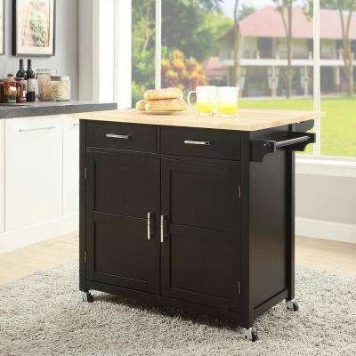 Macie Black Kitchen Cart