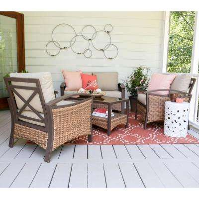 Thompson 4-Piece Wicker Patio Conversation Set with Tan Cushions