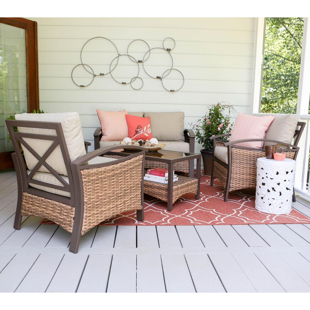 Thompson 4-Piece Wicker Patio Conversation Set with Tan Cushions