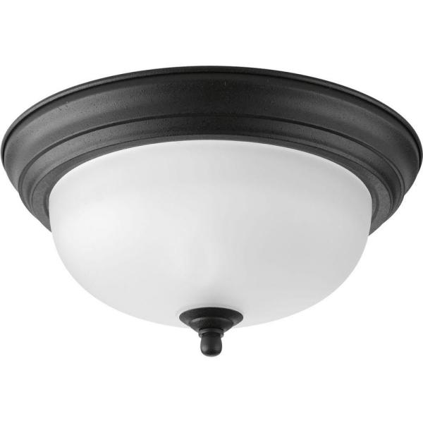 1-Light Forged Black Flush Mount with Alabaster Glass