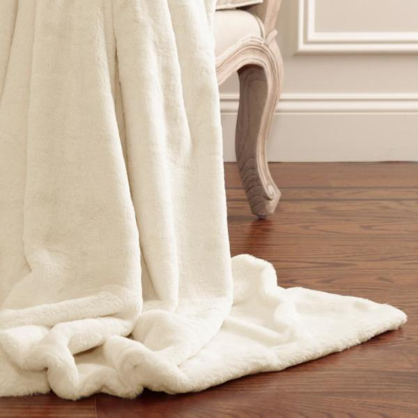 Luxe Cream Polyester Throw Blanket