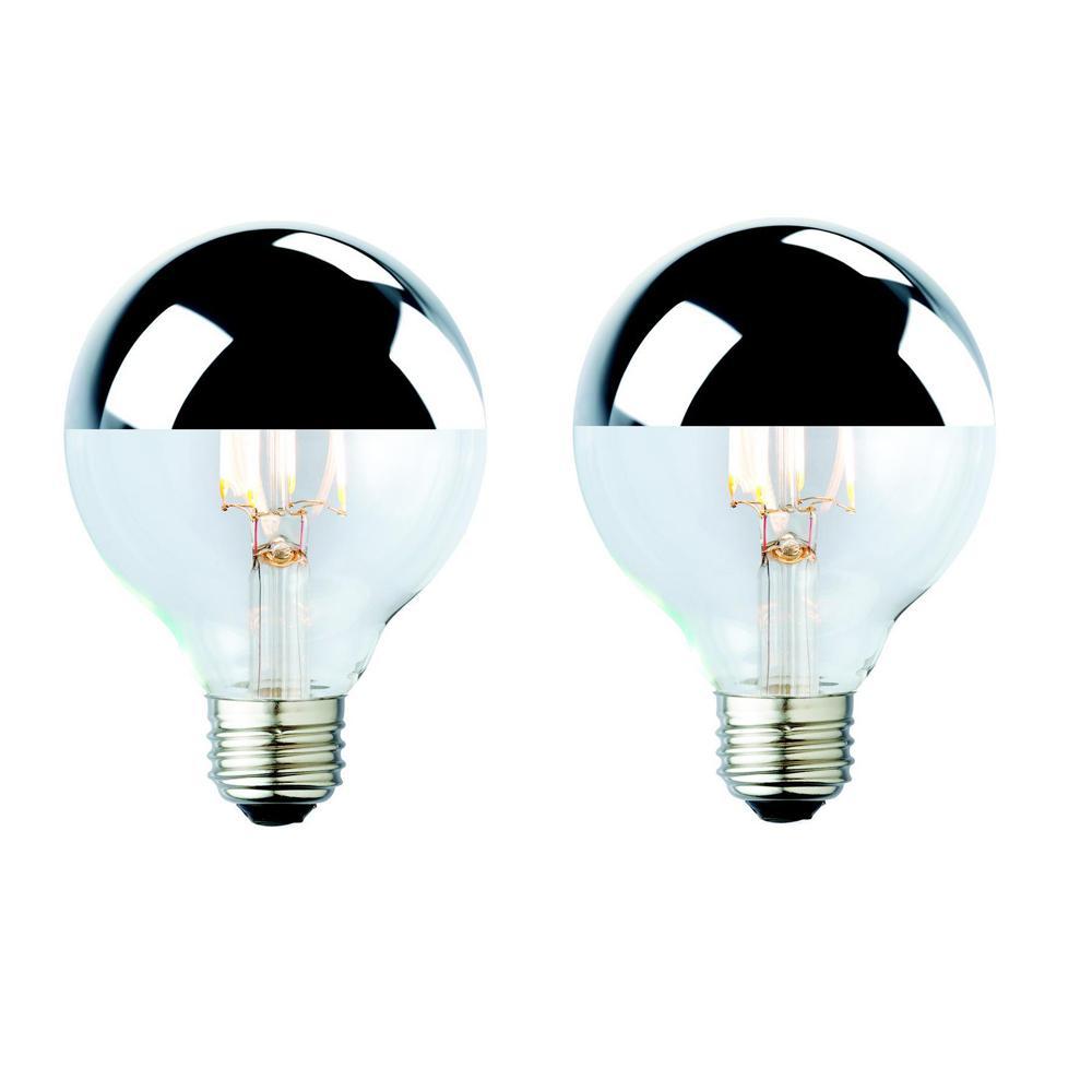 40W Equivalent Soft White G25 Silver Tipped Lens Nostalgic Globe Dimmable LED Light Bulb (2-Pack)