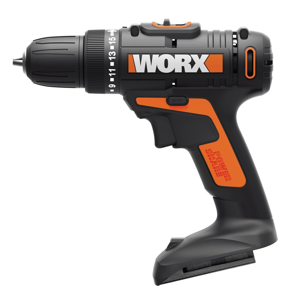 Worx POWER SHARE 20-Volt Lithium-Ion Cordless 3/8 in. 2-Speed Drill Driver (Tool-Only)