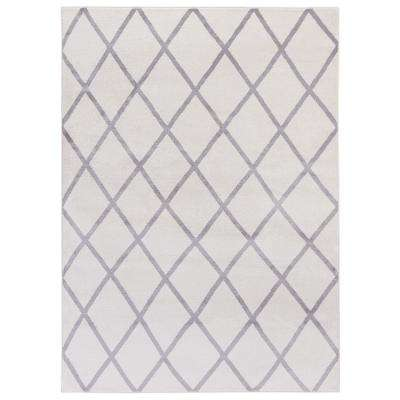 Jasmin Collection Moroccan Trellis Ivory/Gray 7 ft. 10 in. x 9 ft. 10 in. Area Rug