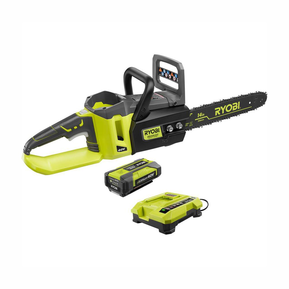 RYOBI RYOBI 14 in. 40-Volt Brushless Lithium-Ion Cordless Chainsaw 1.5 Ah Battery and Charger Included