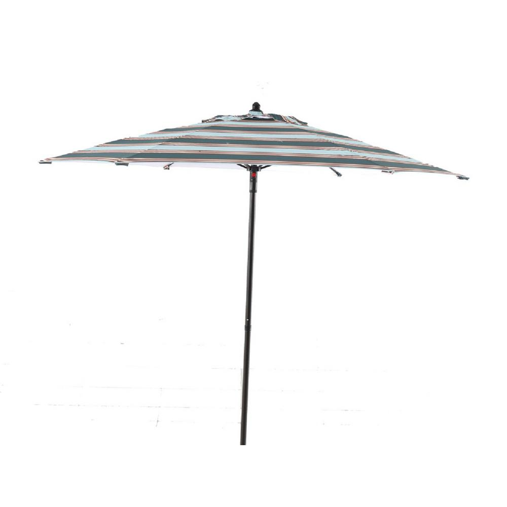 Hampton Bay 7 1/2 Ft. Steel Patio Umbrella In Charleston Stripe