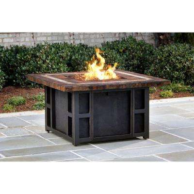 Goldie's 44 in. Slate Fire Pit Table in Antique Bronze with Strip Burner System, Amber Lava Rocks, and a Weather Cover