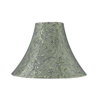 16 in. x 12 in. Green and Leaf Design Bell Lamp Shade