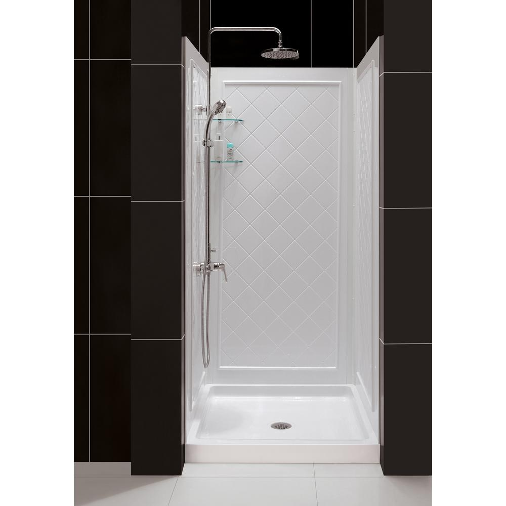32 inch corner shower stall kits. DreamLine SlimLine 32 in  x Single Threshold Shower Kit Base White Center Drain with Back Walls DL 6195C 01 The Home Depot