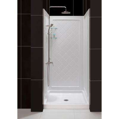 SlimLine 32 in. x 32 in. Single Threshold Shower Kit Base in White Center Drain Base with Back Walls
