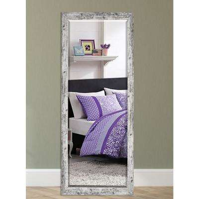 59.5 in. x 20.5 in. Weathered White Farmhouse Tall Beveled Mirror