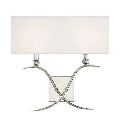 2-Light Polished Nickel Sconce