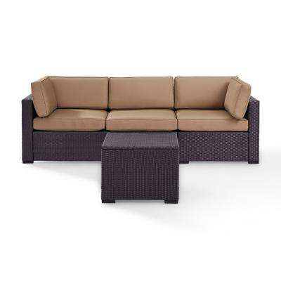Biscayne 3-Person Wicker Outdoor Seating Set with Mocha Cushions 1-Loveseat, 1-Corner and Coffee Table