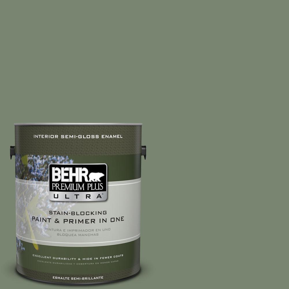 1-gal. #440F-5 Winter Hedge Semi-Gloss Enamel Interior Paint