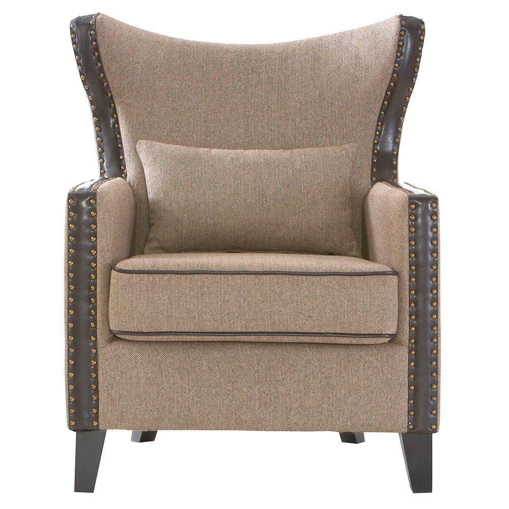 Meloni Herringbone Brown Polyester Arm Chair