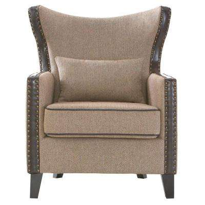 Meloni Herringbone Brown Polyester Arm Chair