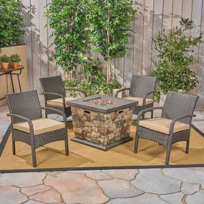 Cordoba Brown 5-Piece Metal Patio Fire Pit Seating Set with Tan Cushions