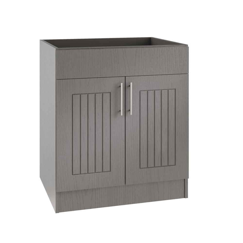 WeatherStrong Assembled 24x34.5x24 in. Naples Island Sink Outdoor Kitchen  Base Cabinet with 2 Doors in Rustic Gray