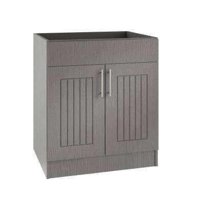 Assembled 36x34.5x24 in. Naples Island Sink Outdoor Kitchen Base Cabinet with 2 Doors in Rustic Gray