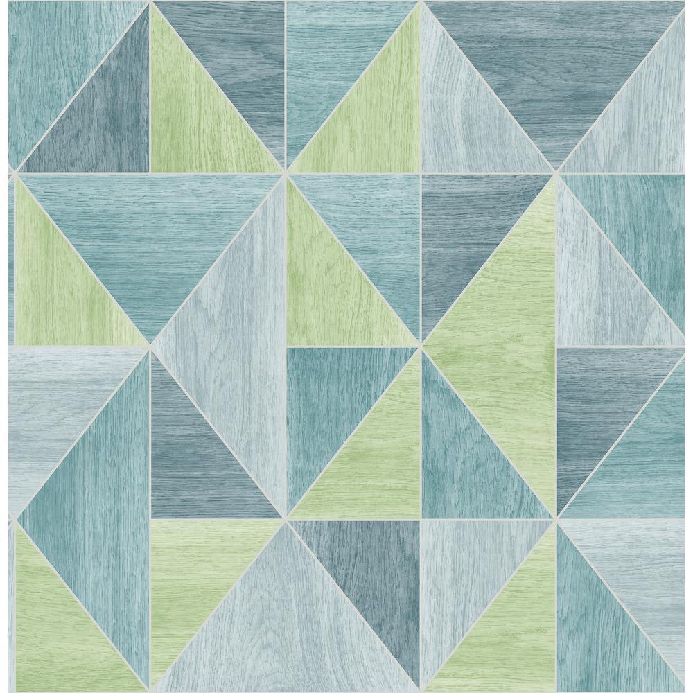 Advantage Simpson Blue Geometric Wood Wallpaper 2814-24961