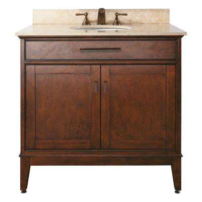 Madison 37 in. W x 22 in. D x 35 in. H Vanity in Tobacco with Marble Vanity Top in Galala Beige and White Basin
