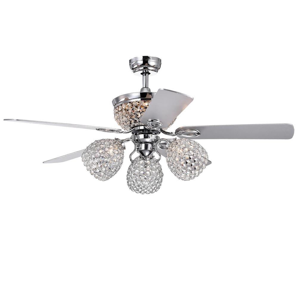 Warehouse of Tiffany Jasper 52 in. Indoor Chrome Remote Controlled Ceiling Fan with Light Kit