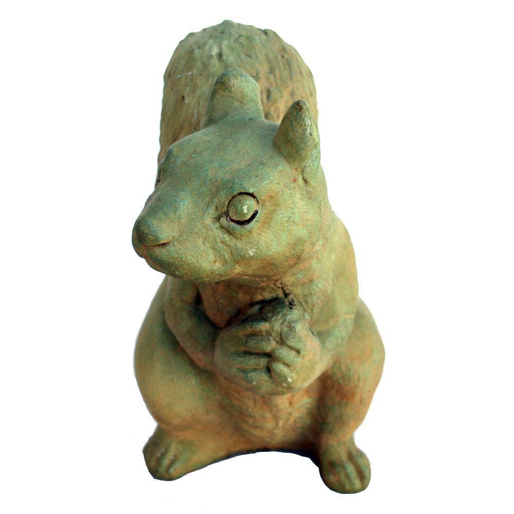 Cast Stone Sitting Squirrel Garden Statue   Weathered Bronze