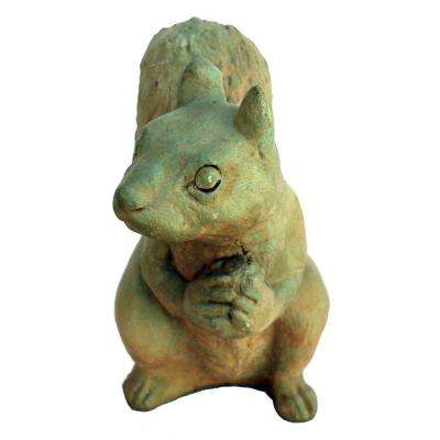 Cast Stone Sitting Squirrel Garden Statue - Weathered Bronze