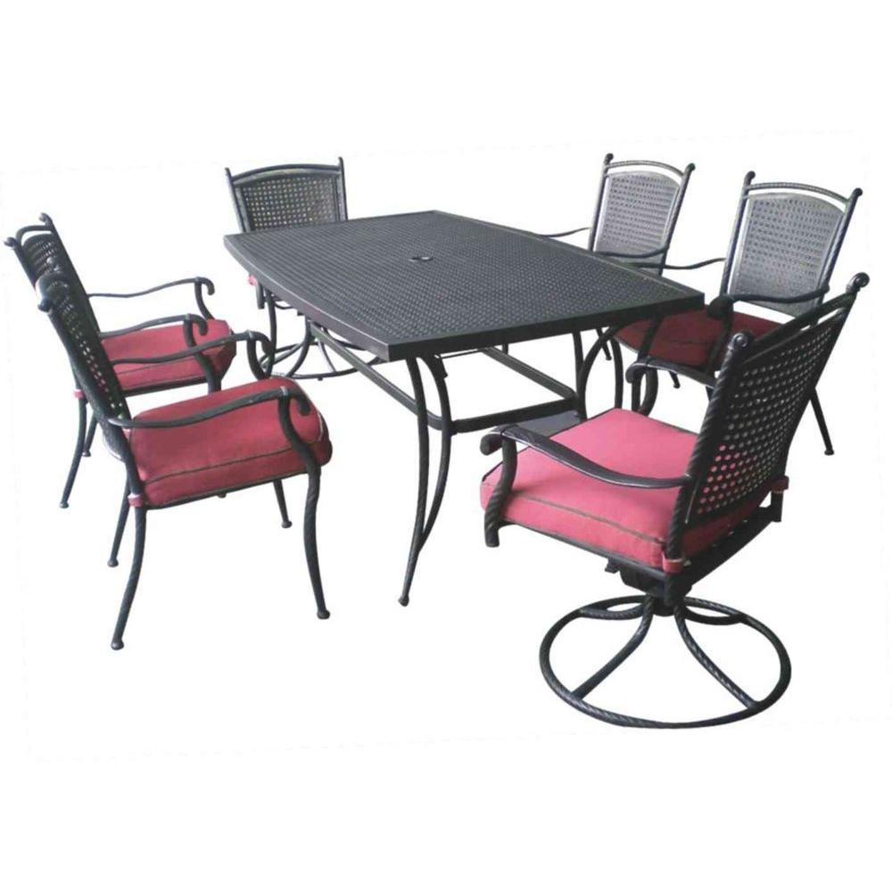 null Savannah Aluminum-Rattan 7-Piece Patio Dining Set-DISCONTINUED
