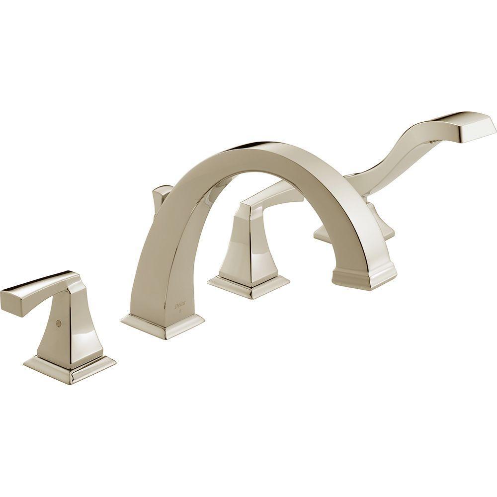 Delta Dryden 2-Handle Deck-Mount Roman Tub Faucet with Hand Shower ...