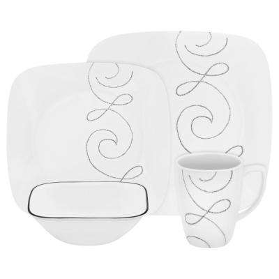 Square 16-Piece Endless Thread Dinnerware Set