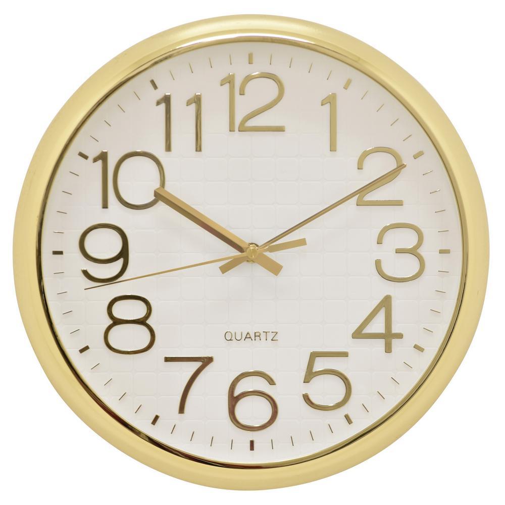 12.5 in. Shiny Gold Wall Clock