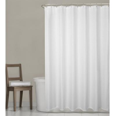 Stevenson Waffle 70 in. W x 72 in. L White Fabric Shower Curtain