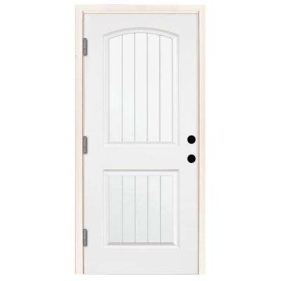 premium 2 panel plank primed steel prehung front door