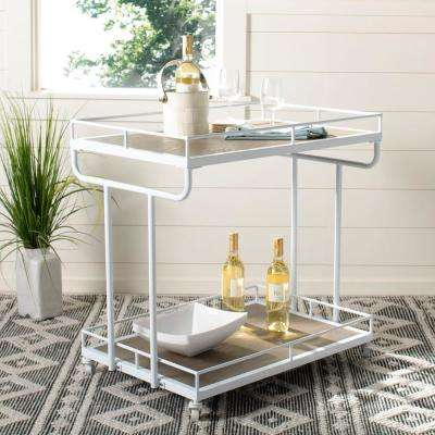 Dawson 2-Tier Rustic Oak/White Bar Cart
