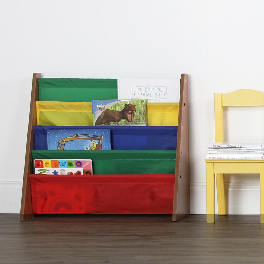 highlight collection dark pineprimary book rack storage bookshelf tot tutors - Tot Tutors Book Rack Primary Colors