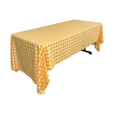 """60 in. x 144 in. White and Dark yellow Polyester Gingham Checkered Rectangular Tablecloth"""