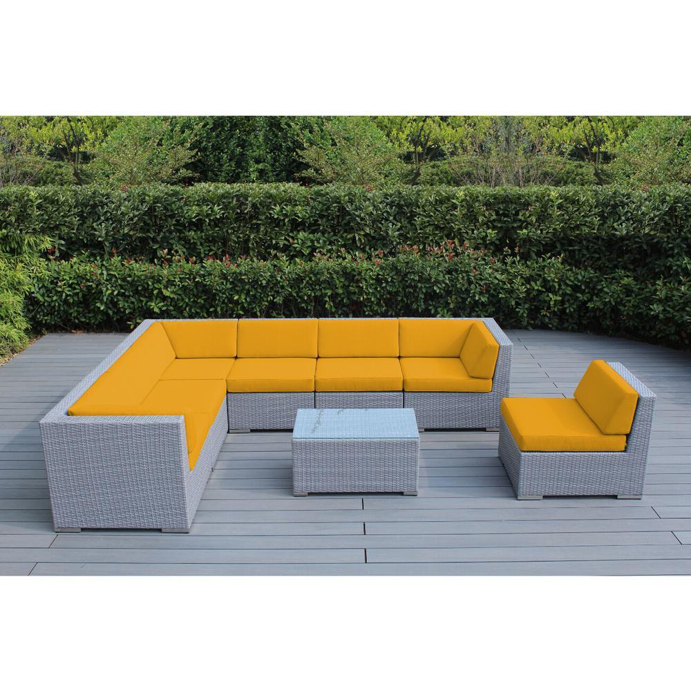 Gray 8-Piece Wicker Patio Seating Set with Sunbrella Sunflower Yellow Cushions