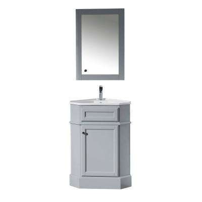 Hampton 27 in. W x 18 in. D Corner Vanity in Grey with Porcelain Vanity Top in White with White Basin and Mirror Cabinet