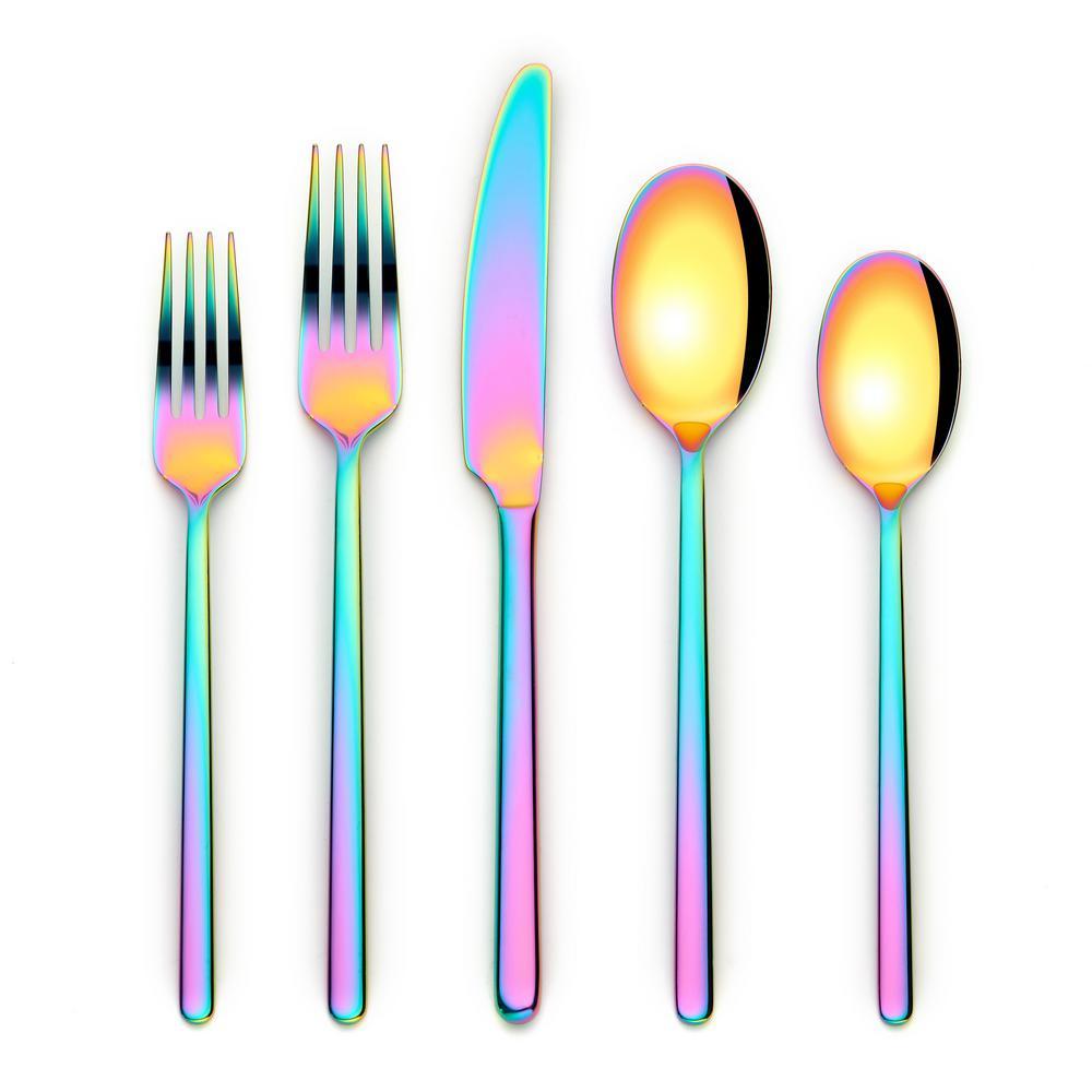 Jayden 20-Piece Rainbow 18/0 Stainless Steel Flatware Set (Service for 4)