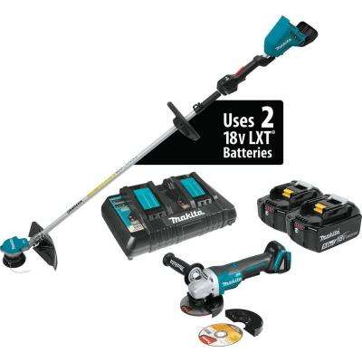 18-Volt X2 LXT Lithium-Ion (36-Volt) Brushless Cordless String Trimmer Kit (5.0Ah) and 4-1/2 in. Cut-Off/Angle Grinder