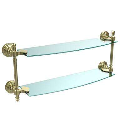 Retro Wave Collection 18 in. Two Tiered Glass Shelf in Satin Brass