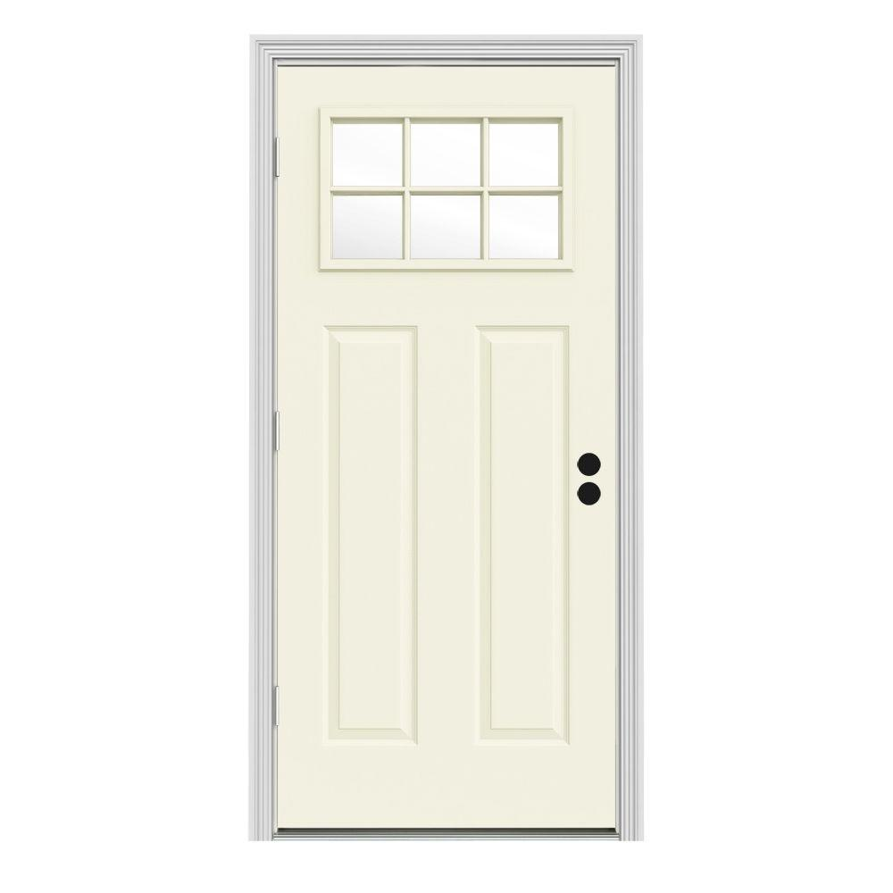 JELD-WEN 30 in. x 80 in. 6 Lite Craftsman Vanilla Painted Steel Prehung Right-Hand Outswing Front Door w/Brickmould