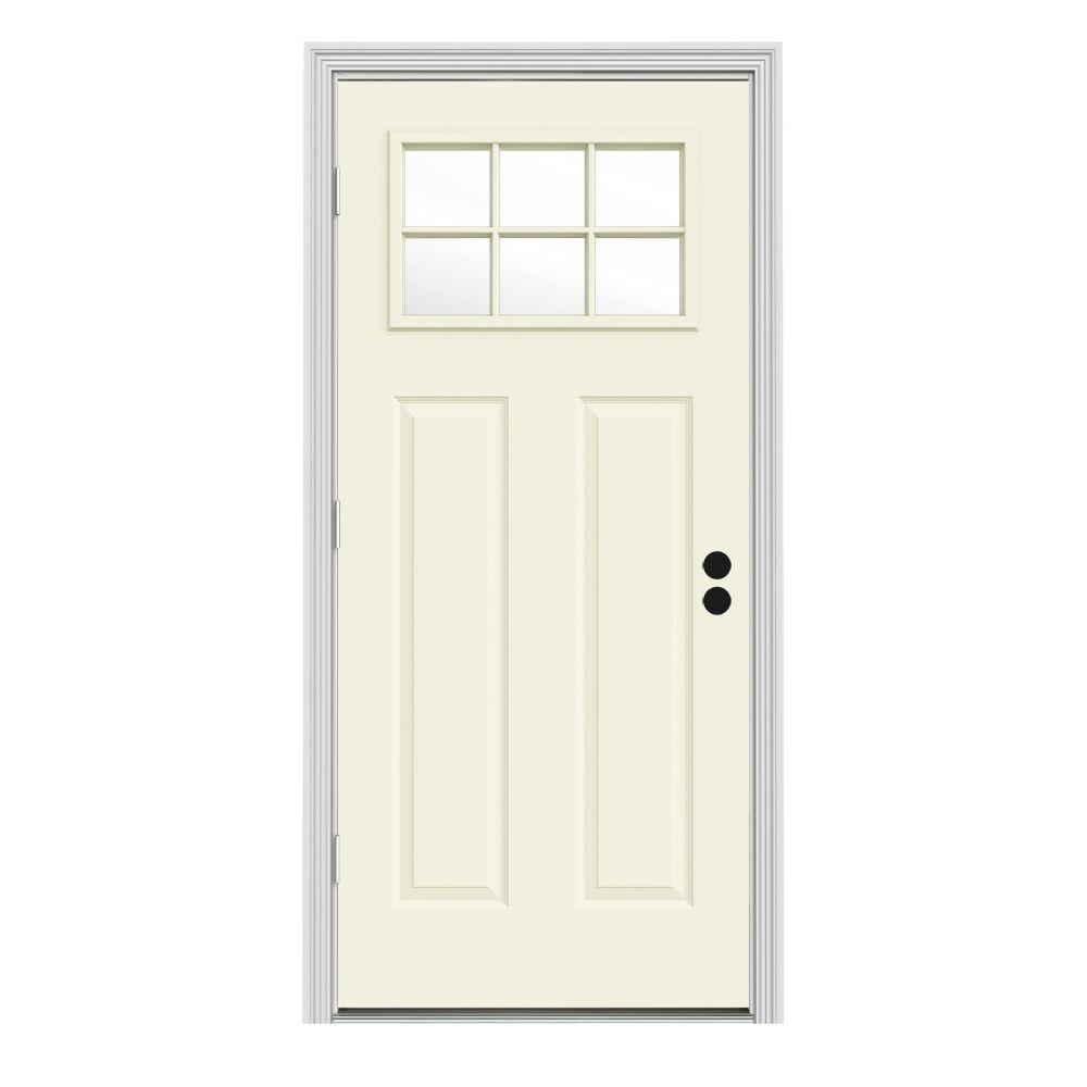 Jeld wen 34 in x 80 in 6 lite craftsman vanilla painted for Craftsman french doors