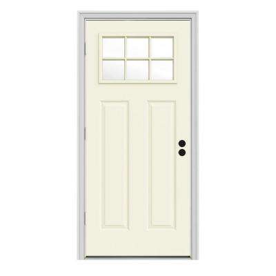34 in. x 80 in. 6 Lite Craftsman Vanilla Painted Steel Prehung Right-Hand Outswing Front Door w/Brickmould