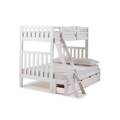 Aurora White Twin Over Full Bunk Bed with Storage Drawers